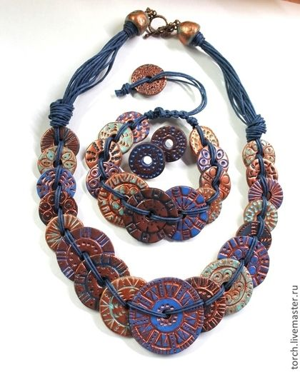 "Sets of handmade jewelry.  Fair Masters - handmade.  Buy a necklace, bracelet and earrings made of polymer clay ""copper coins"".  Handmade."