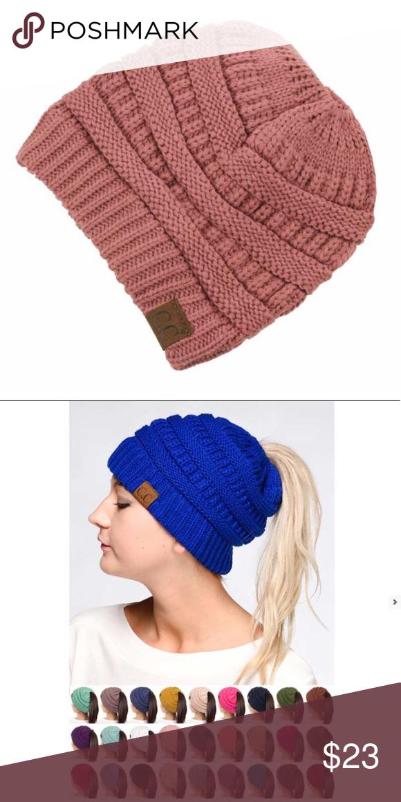 abc1b7d8eab C.C. Thick Slouchy Knit Ponytail Beanie Hat Mauve C.C. Women s Thick  Slouchy Knit Ponytail Beanie Cap