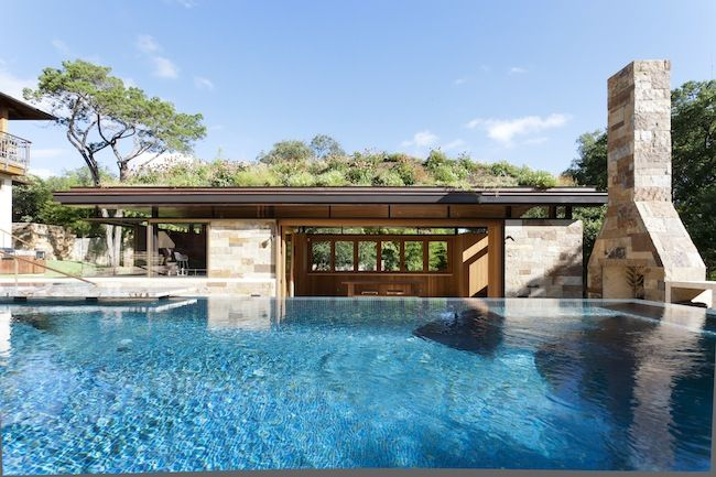 Suck It Up: A Texas pool house's design is informed by runoff prevention. -