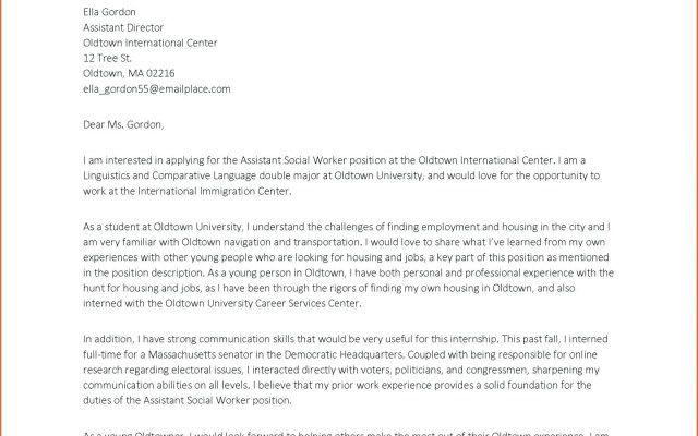 Cover Letter For Social Work Internship U2013 ...