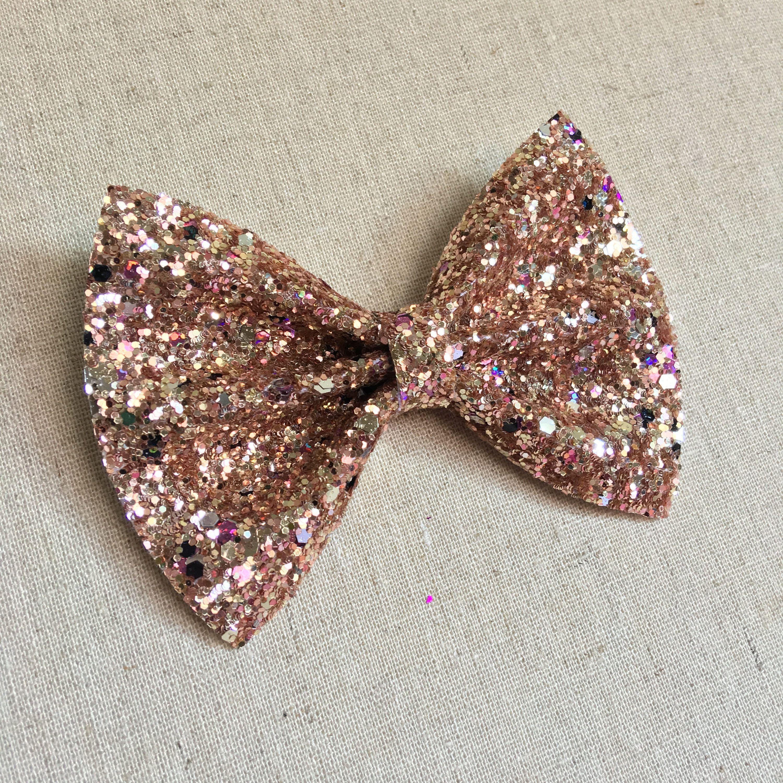 4 Inch Pink Rose//flower Glitter Mirror Children/'s Hair Bow