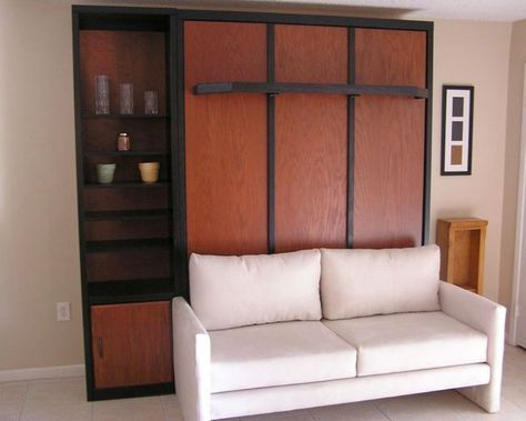 White Murphy Bed Couch Ideas Attached To Rustic Cabinet - Murphy bed couch ideas space savers