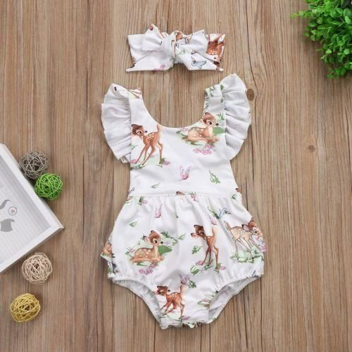 b225e7a0d02 Dress up your little bub in this cute deer printed ruffle bodysuit. One of  our best selling summer styles this season. Grab one now before its gone.