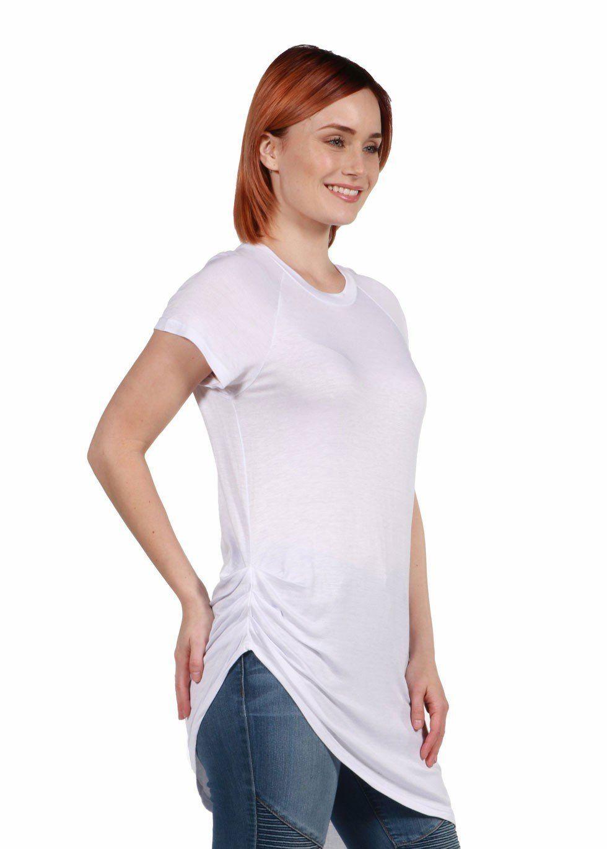 Zola Asymmetric Short Sleeve Tee- White