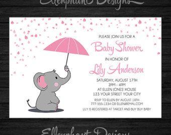 Pink elephant baby shower invitation umbrella rain baby sprinkle pink elephant baby shower invitation umbrella rain baby filmwisefo