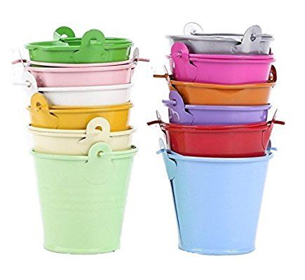 Leisial 12pcs Macetas para Flores Mini Cubos de Metal Multicolor Mini Barril de Hojalata Decoracion Mesas