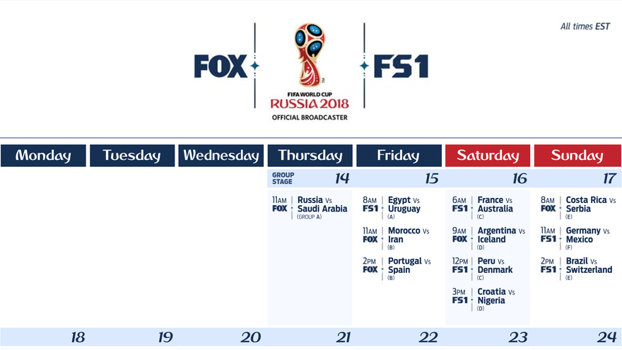 2018 FIFA World Cup Watch Live Matches Streaming on FOX