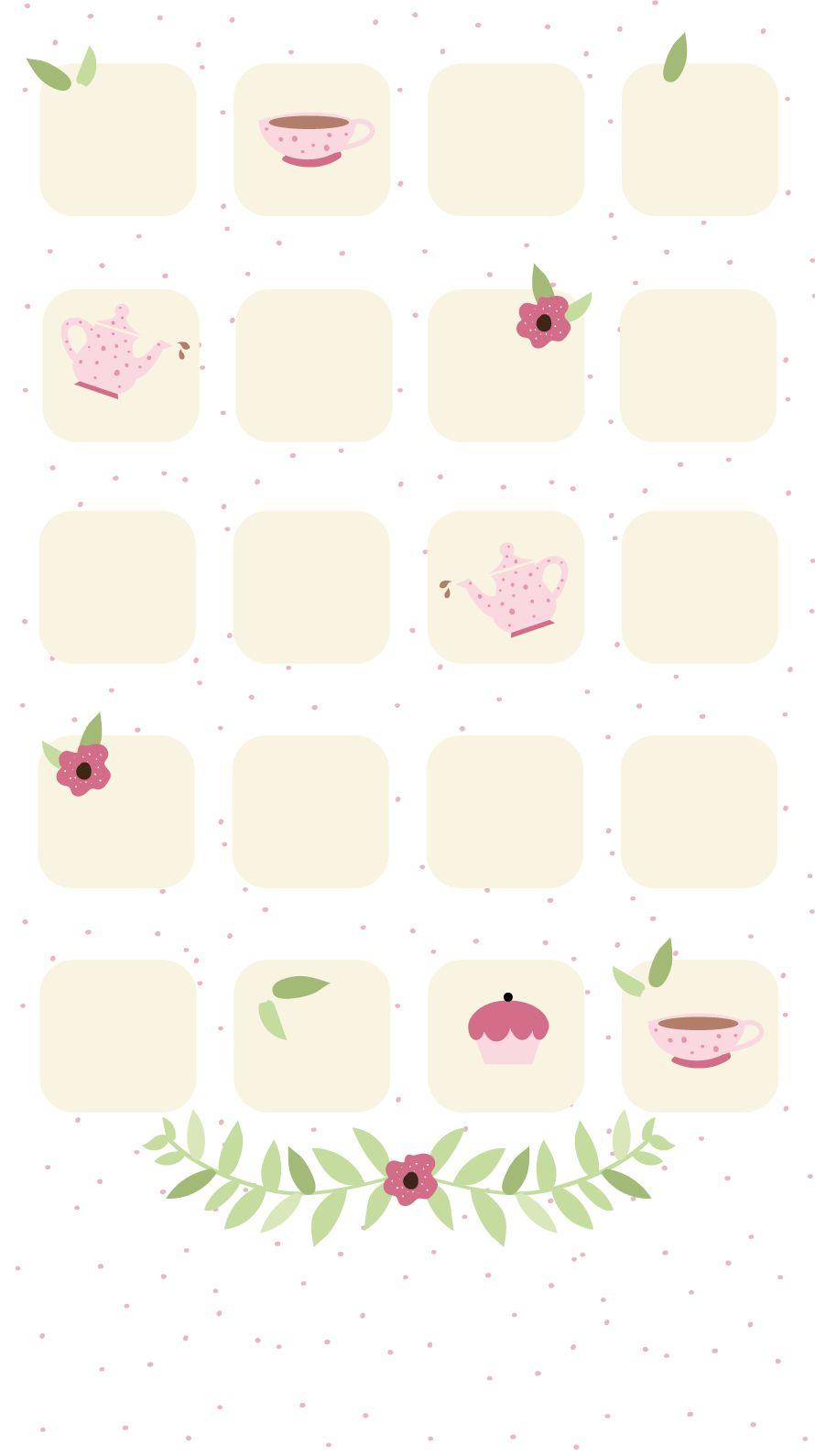 Simple Girly TeaTime iPhone Home Screen Wallpaper PanPins