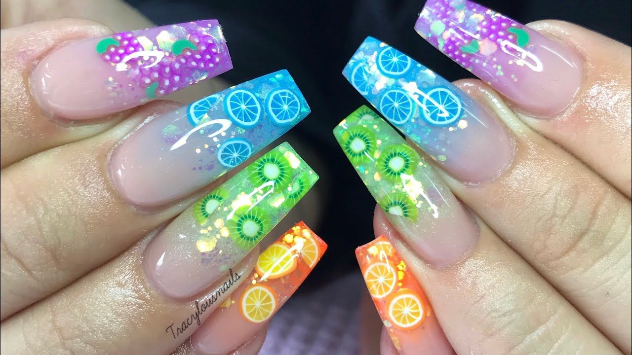 Fimo Fruit Slices Acrylic Nails Nail Tutorial Youtube In 2020 Colored Acrylic Nails Lemon Nails Fruit Nail Designs