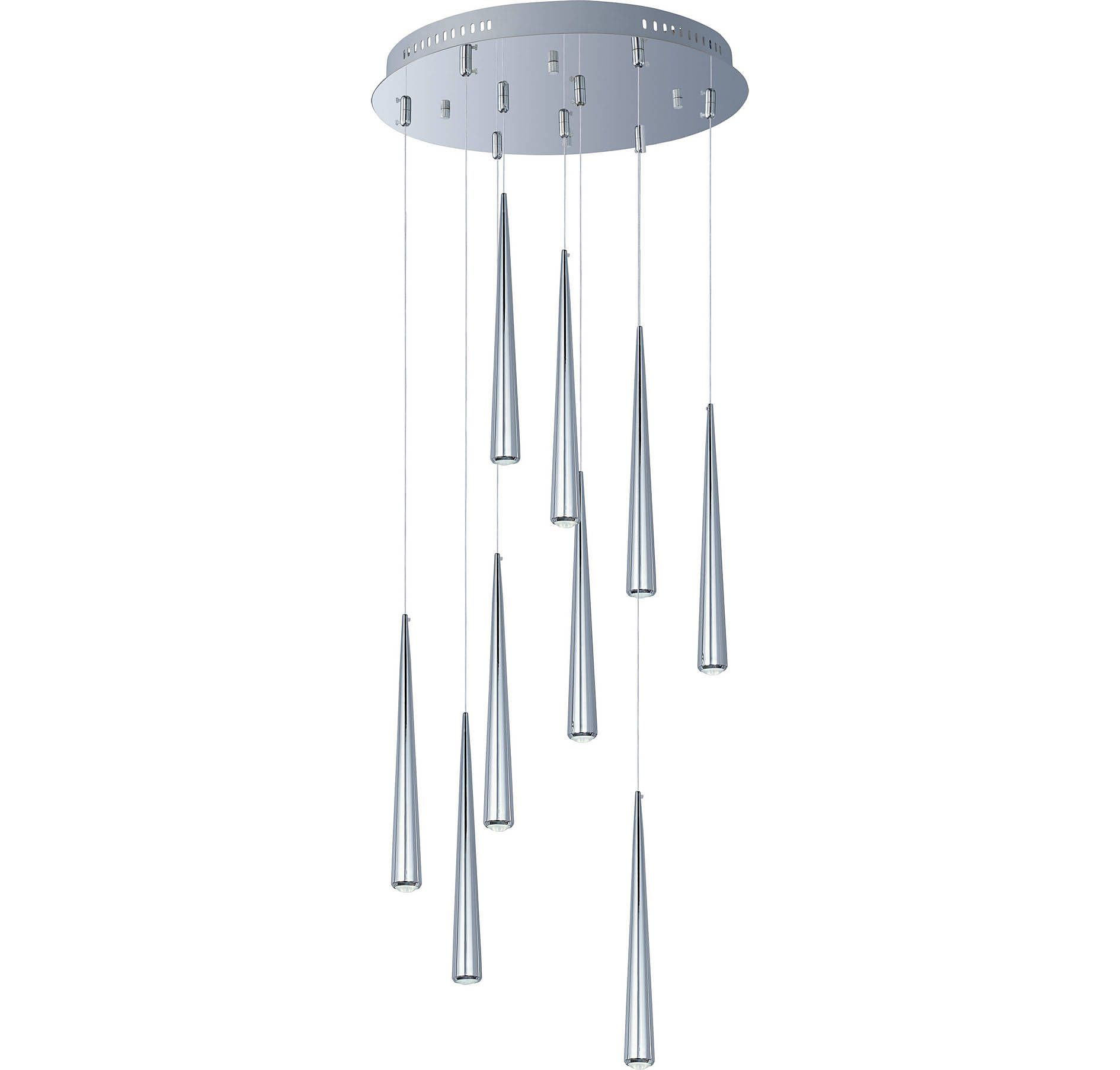 ET2 Taper 9-Light Pendant in Polished Chrome with Clear Glass