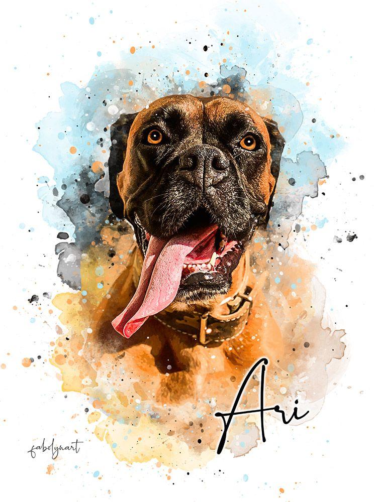 Simple Style Custom Pet Portrait Watercolor pet