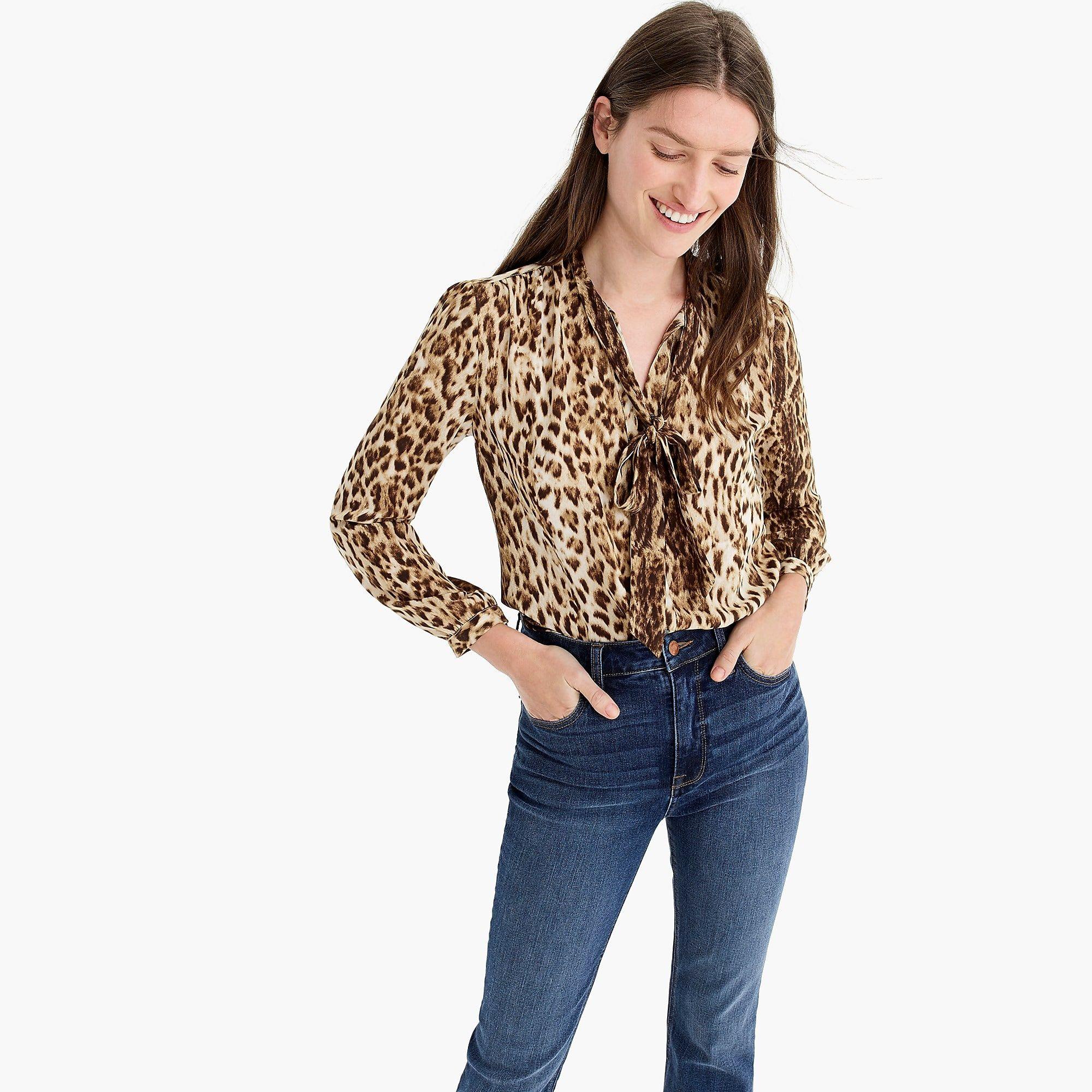 5d78fec714d Tie-neck button-up shirt in leopard print - Women's Shirts | J.Crew ...