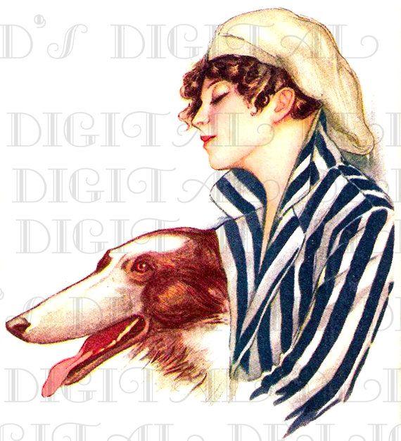 Stripped Beauty and Dog Art DECO Vintage by DandDDigitalDelights