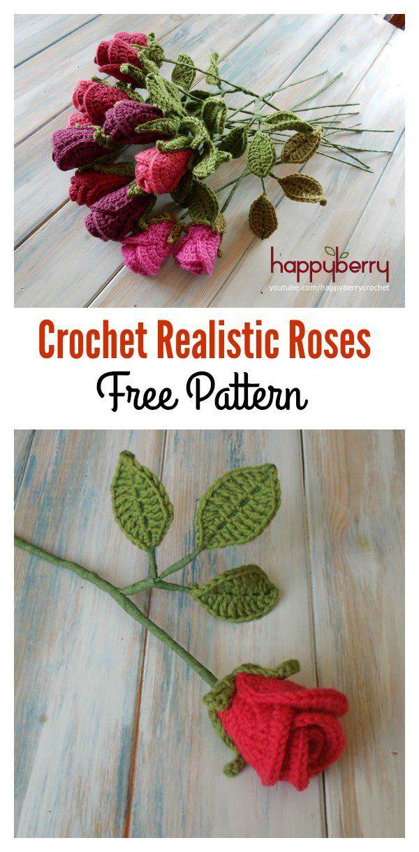 Valentine\'s Day Crochet Flowers Free Patterns | Häkelarbeiten, Frei ...