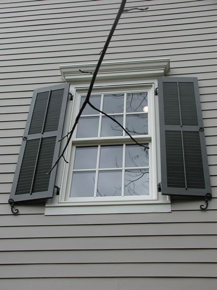 Louvered Shutters With Faux Tilt Rods And Pull Rings Scroll Tie Backs Cur