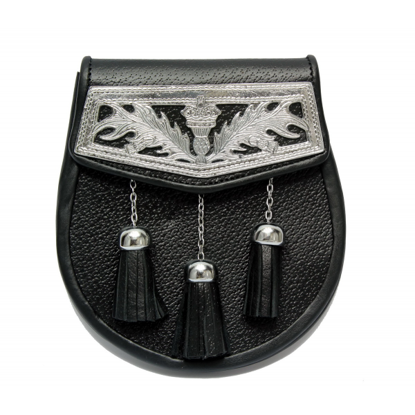 CASUAL EMBOSSED BLACK LEATHER KILT SPORRAN WITH CHAIN /& BELT with 3 Tassels