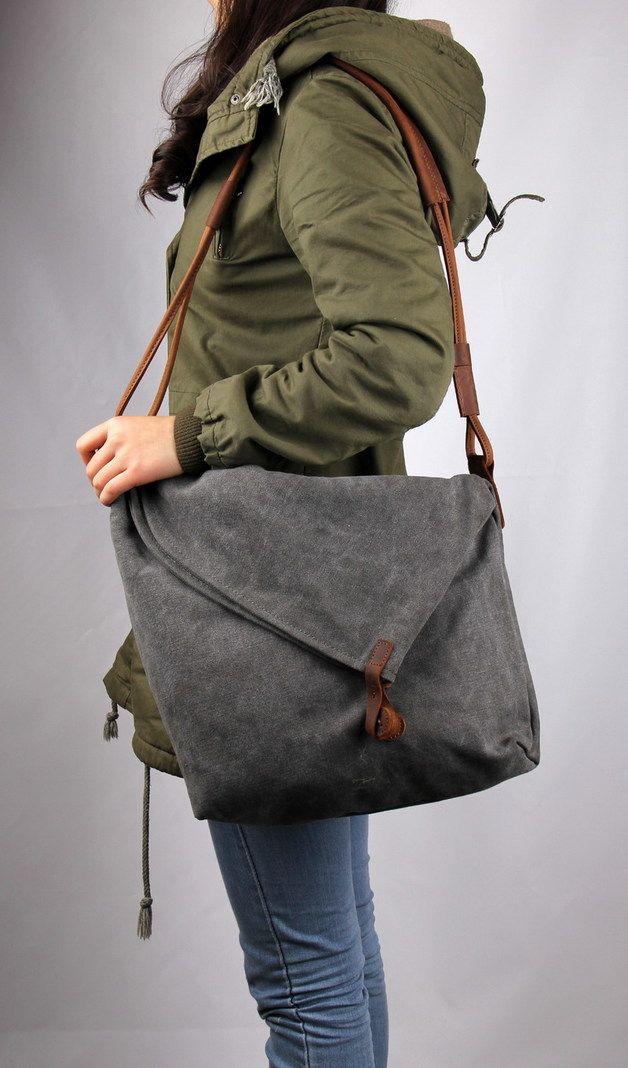 Photo of Canvastaschen – #7. Canvastasche schultertasche mit leder – grau – ein Designers…
