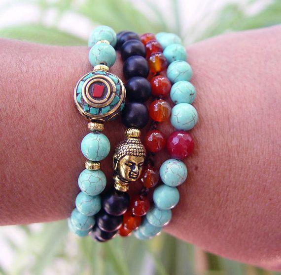 Yoga Bracelet Mala Bracelet Calming Stone Boho Chic by UrbanCorner