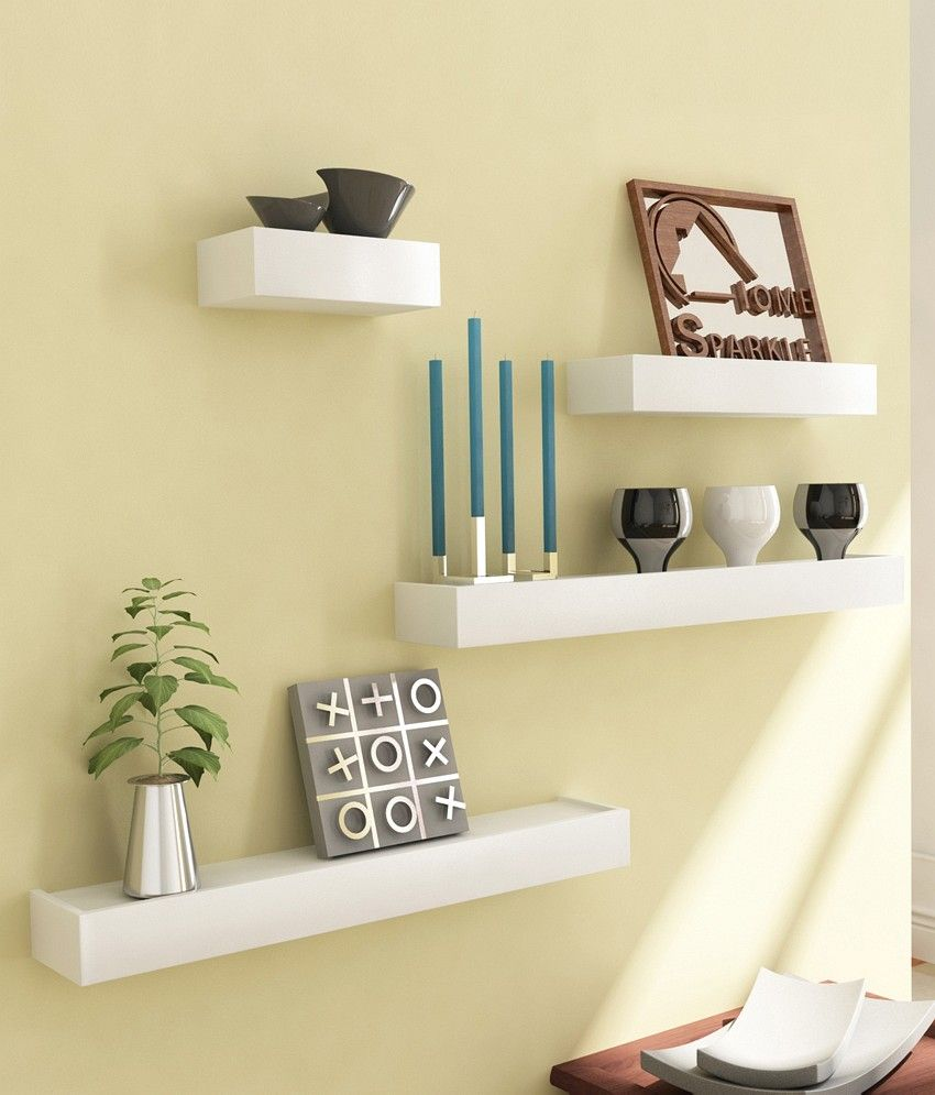 Great Home Sparkle Yellow Wooden Shelves   Set Of 4 By Home Sparkle Online   Wall  Shelves   Home Decor   Pepperfry Product