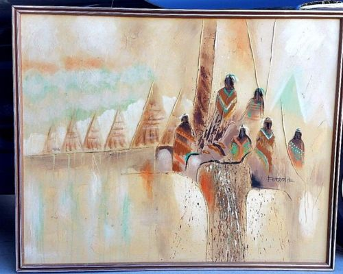 VTG-Oil-Painting-Signed-Ferrante-Native-American-Taos-South-Western-52-034
