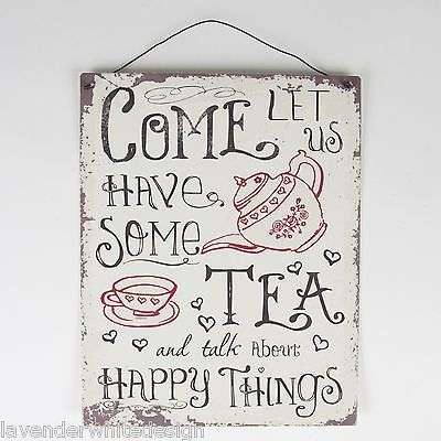 Med 19x24cm Metal Retro Vintage Kitchen Sign   Come Let Us Have Some Tea  Plaque