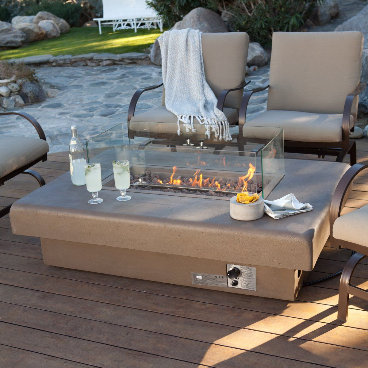 Set Rectangular Gas Fire Pit Outdoor Completed With Glass Cover