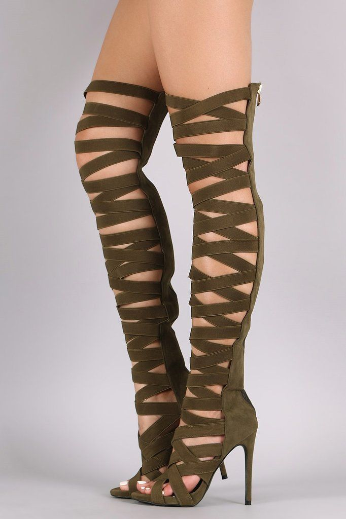 15c6b21d8e So Me Heaven Elastic Crisscross Strap Thigh High Boots Heel Olive Green