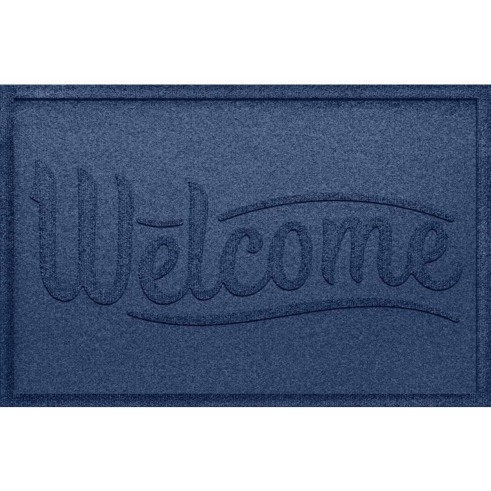 d4d306bca9082 Aqua Shield Simple Welcome Navy 24x36 Polypropylene Door Mat, Blue ...