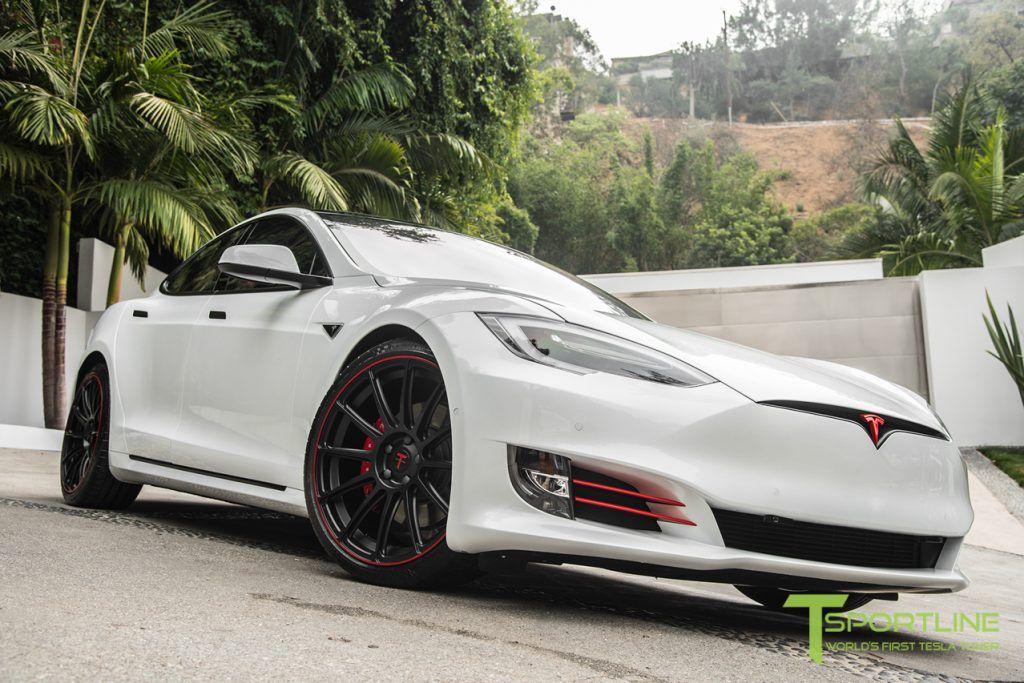 2016 Pearl White Tesla Model S Ts112 Matte Black 21 Inch Forged Wheel Red Pinstripe 5 1024x683 Tesla Model S Tesla Model Tesla