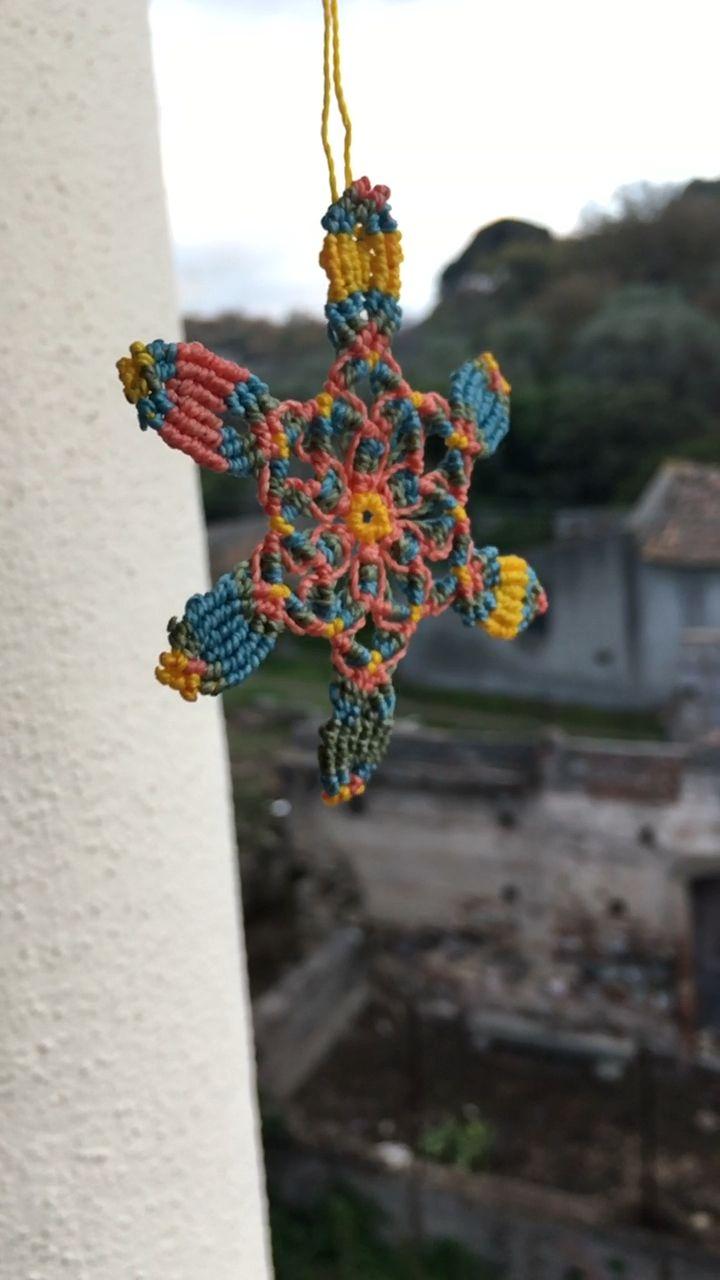 Macramè necklace with mandala flower #macramenecklace #handknotted #mandala #flower #springstyle