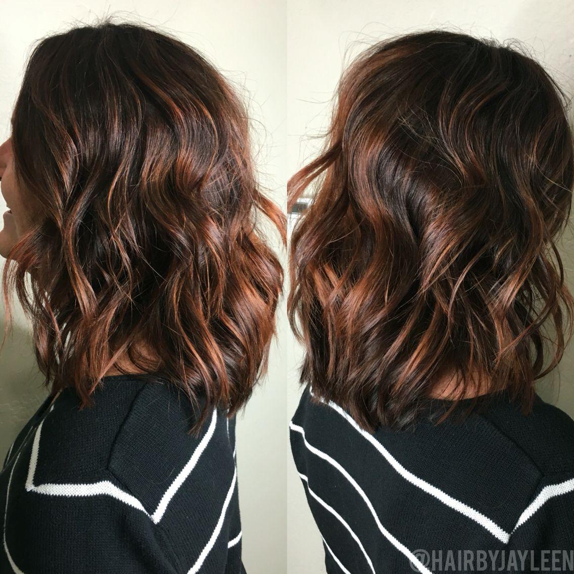 Balayage brown hair, balayage dark hair, brunette hair, copper balayage, lob, short hairstyles, textured lob, caramel balayage, chocolate red hair, highlights, hair painting