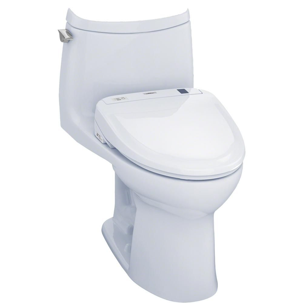 Toto Ultramax Ii Connect 1 Piece 1 0 Gpf Elongated Toilet With Washlet S300e Bidet And Cefiontect In Cotton White Washlet Clean Toilet Bowl Toilet
