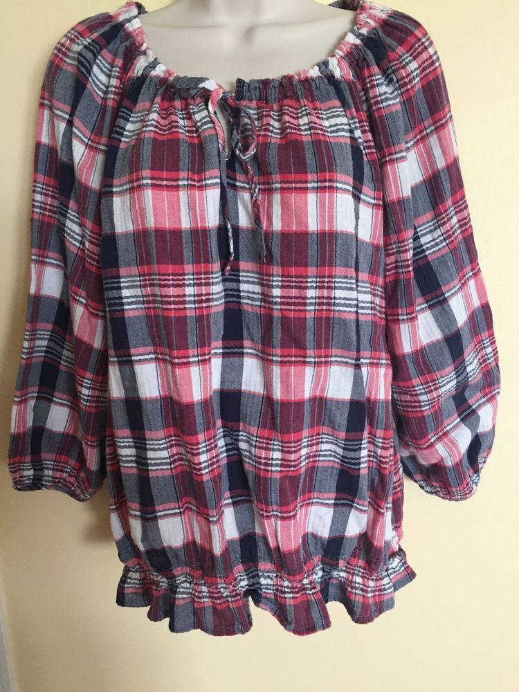 Women's IZOD  Size XL Layered Blouse 3/4 Sleeve Plaid Print Red White Blue EUC…