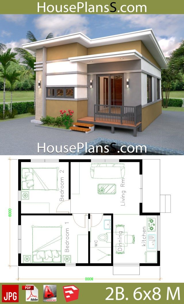 Small House Design Plans 6x8 With 2 Bedrooms House Plans 3d Small House Design Plans House Plans 2 Bedroom House Plans