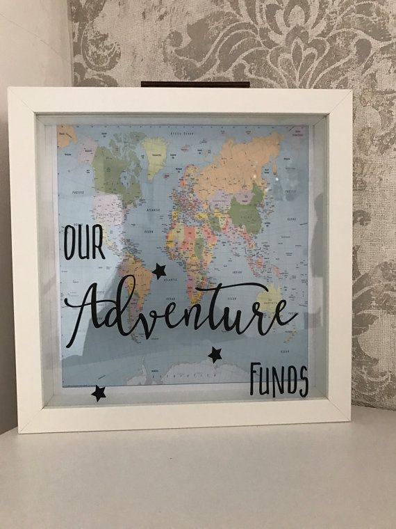 Adventure holiday funds saving money box frame by for Homemade money box ideas