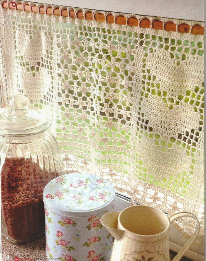 Cortina a crochet cortinas pinterest cortinas ganchillo y cortinas cocina - Cortinas a ganchillo patrones ...