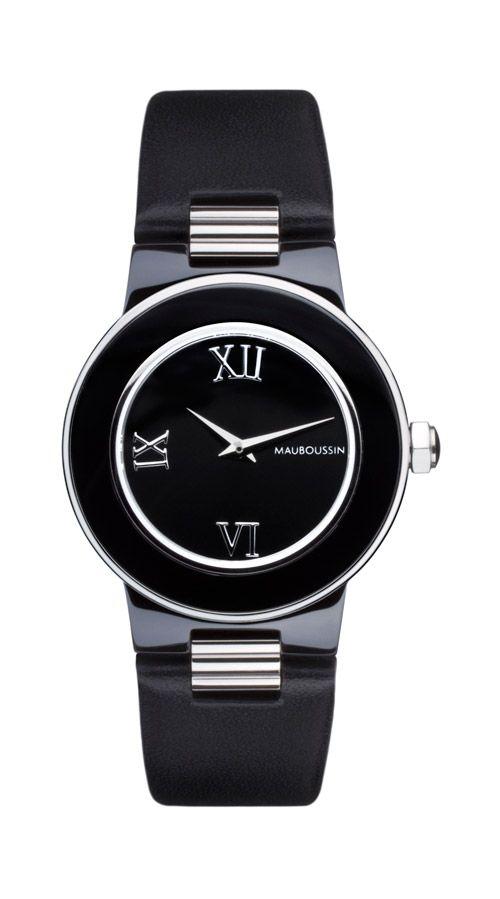 c85007afff Amour la Nuit timepiece by Mauboussin. Black ceramic, roman numerals ...