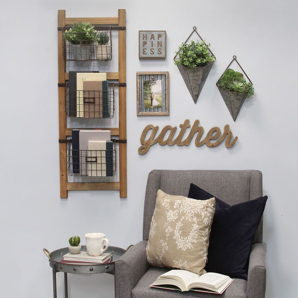 Decorative ladder with baskets wall decor