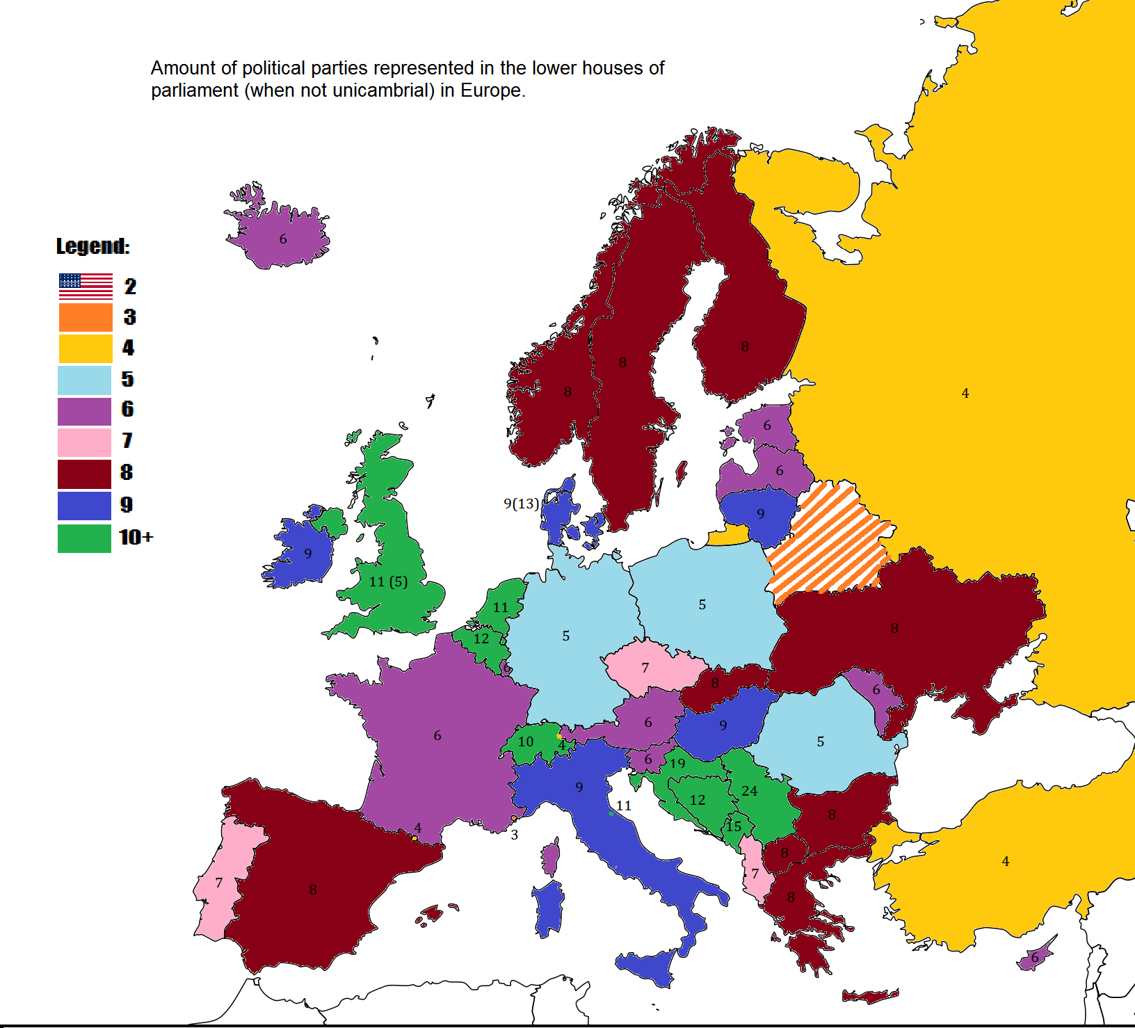 Amount of political parties represented in European parliaments