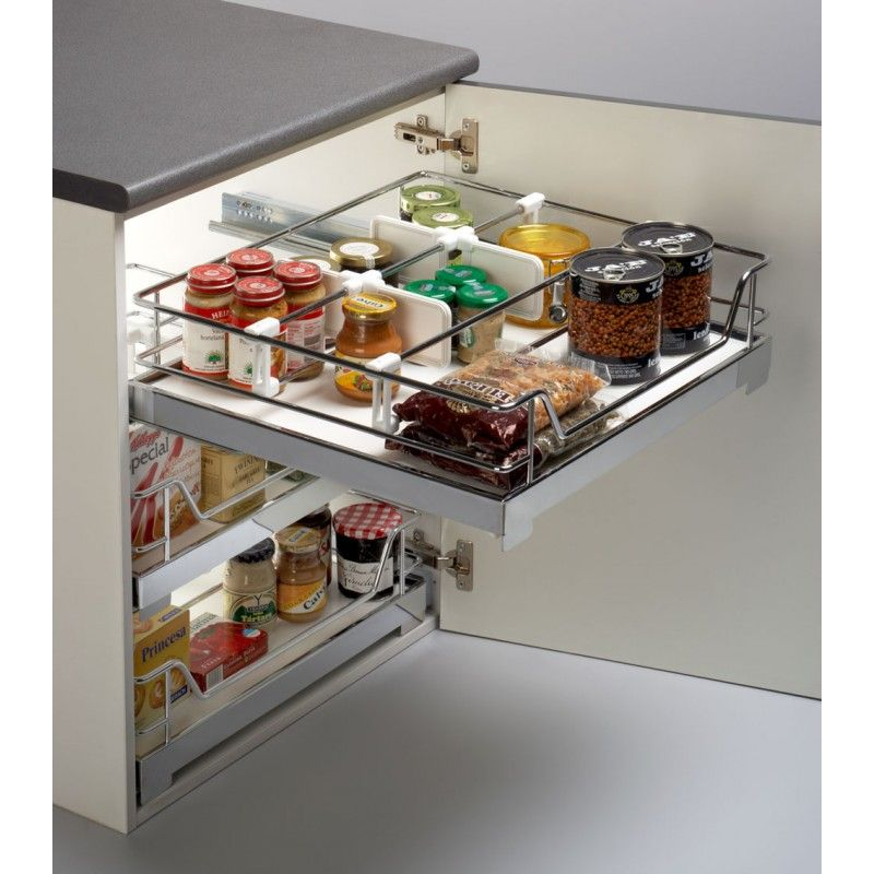 cesto extrable con base de melamina con freno para armarios de cocina cestou
