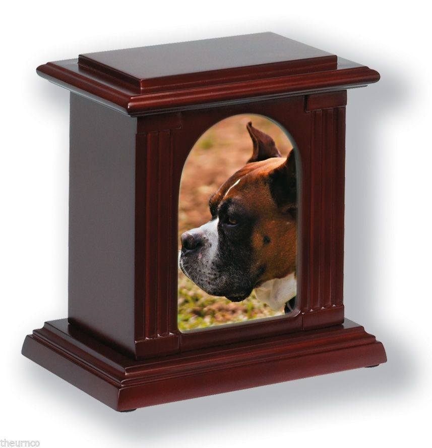 New Wooden Photo Frame Cremation Pet Urn In Cherry Oak Mahogany