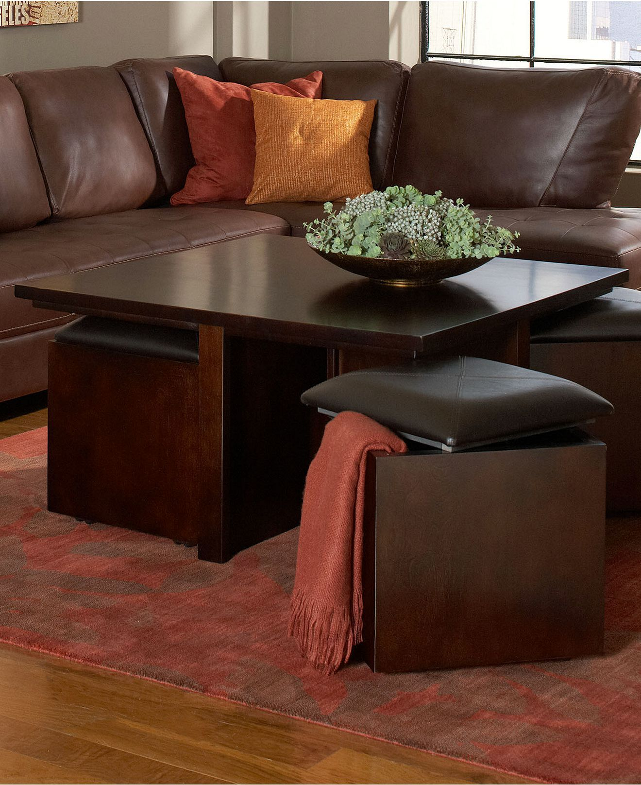 Pelham Square Cocktail Table With Four Storage Cubes Extra Storage And Seating Home Decor