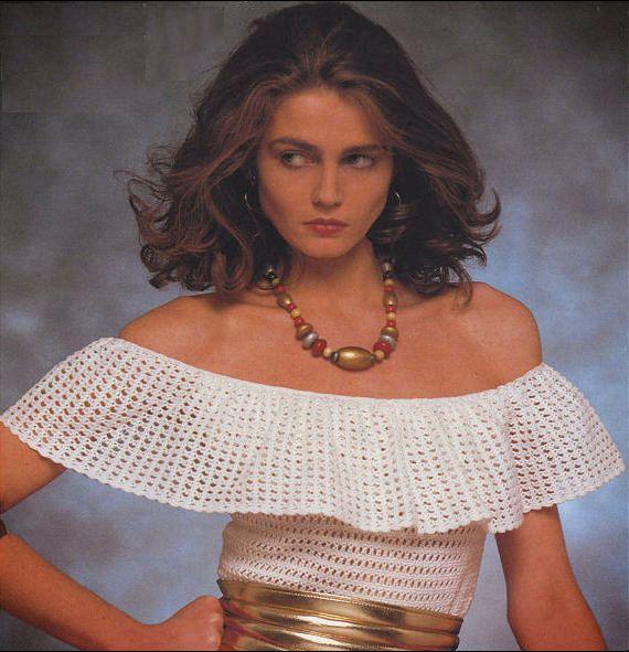 Vintage Crochet Pattern Pdf To Make A Ladies Easy Off Shoulder Frill