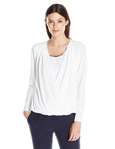 6313f8cac7f Calvin Klein Womens FauxWrap Top with Lace Underlay Soft White Small --  Want to know