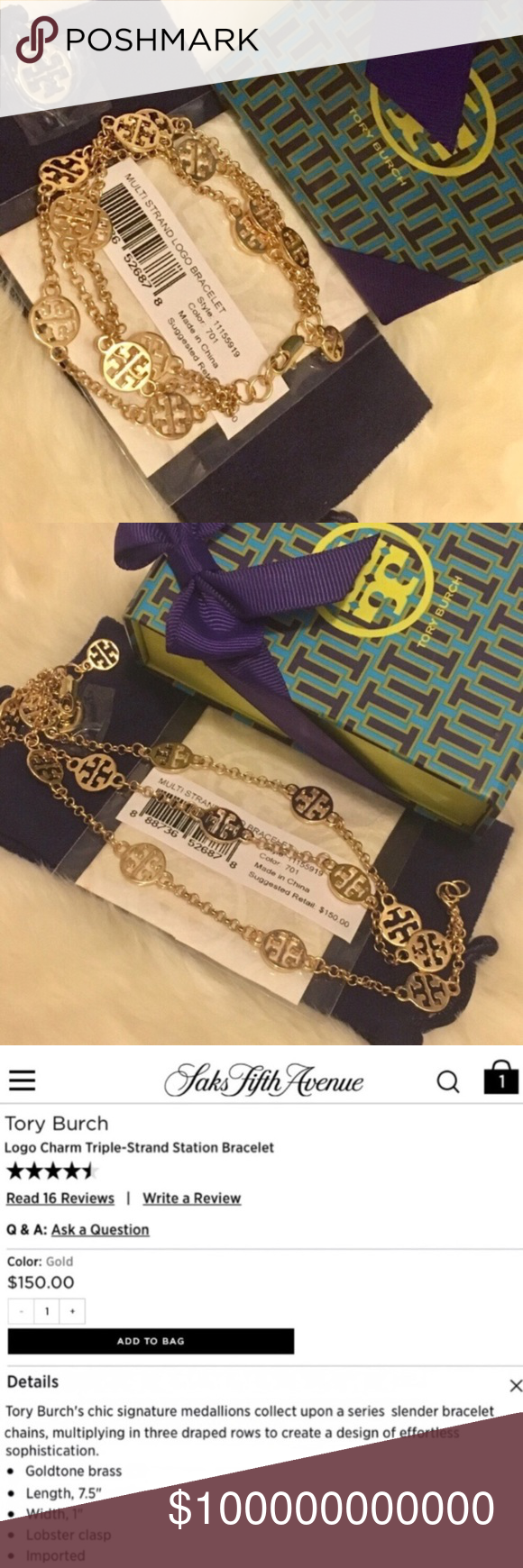 Tory Burch Multistrand Bracelet Worth over $160 (incl tax)  Brand new without tag, never worn  Price Firm No trades Tory Burch Jewelry Bracelets