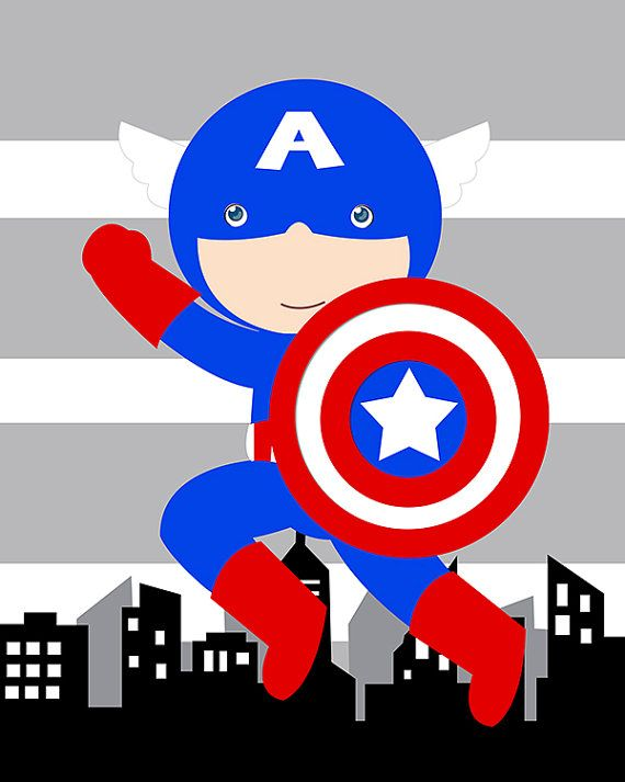 Captain America superhero wall art print, high quality