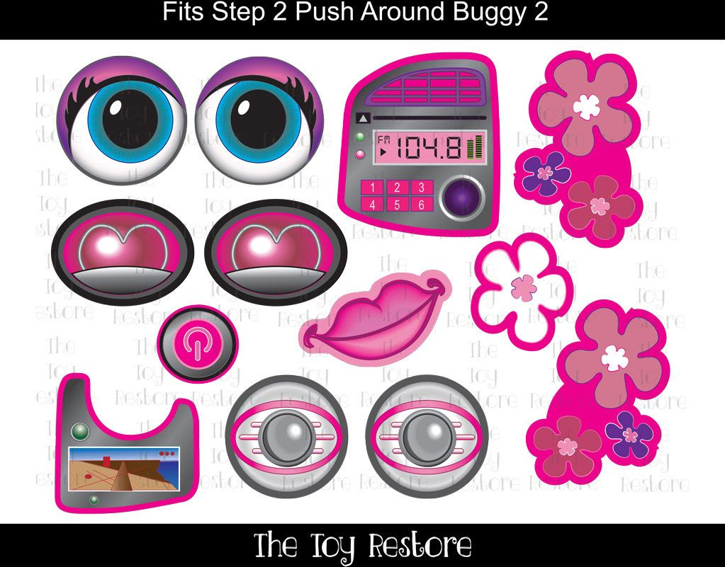New replacement decals stickers fits step2 pusharoundbuggy 2 car wagon girl with flowers by thetoyrestore on etsy upcycle restore