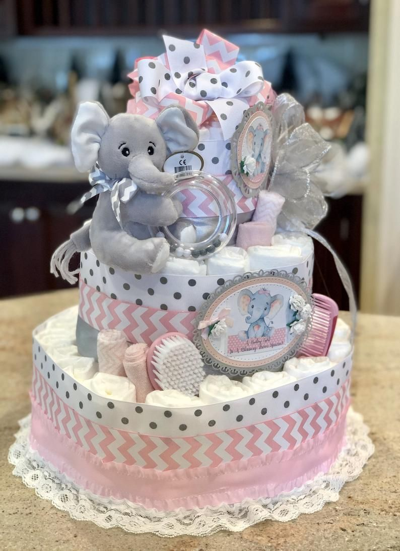 4 tier pink elephant diaper cake for baby girl diaper