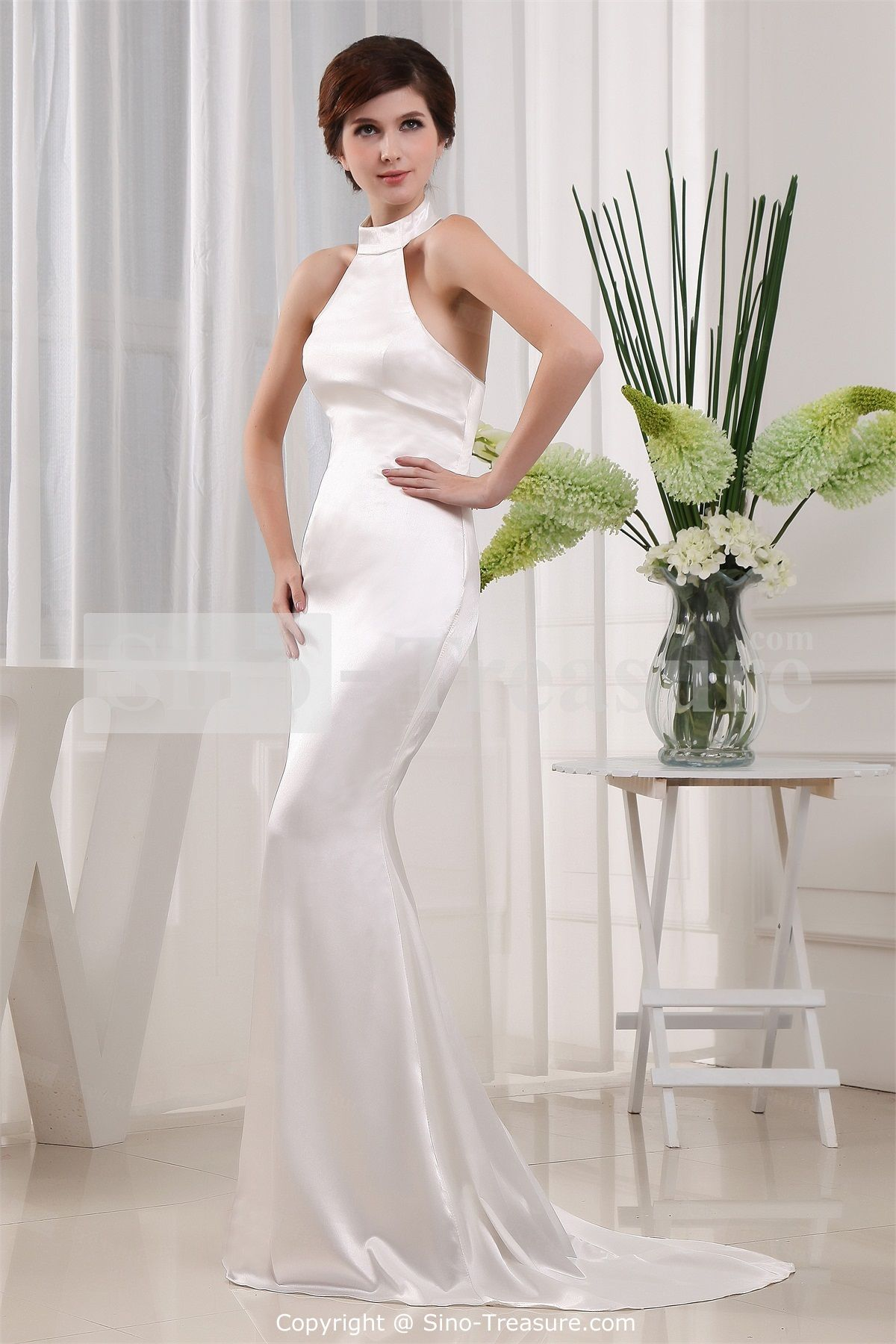 Ivory silklike satin halter mermaid hourglass sleeveless evening