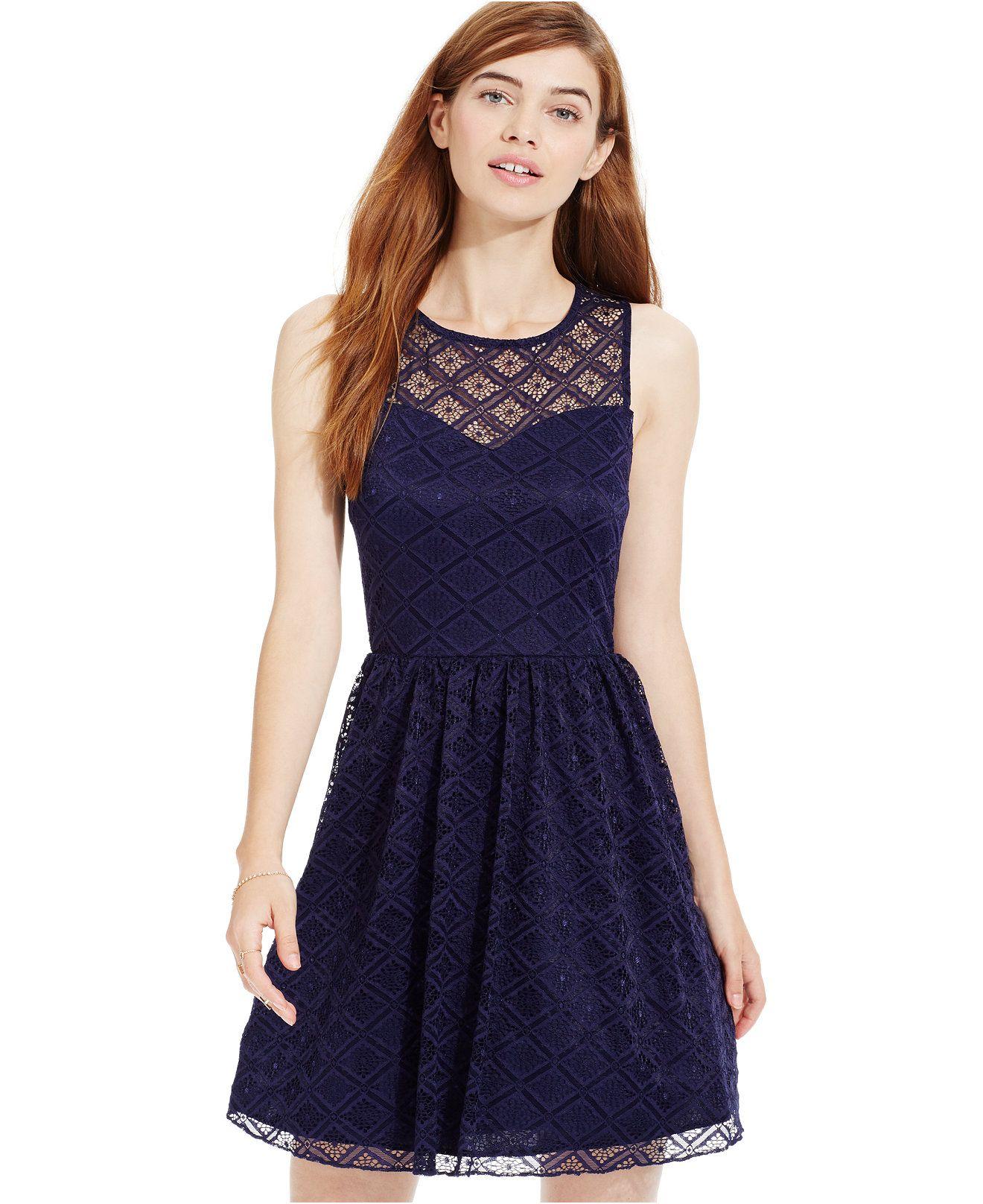 Trixxi Juniors\' Illusion Lace Cutout Dress - Juniors Dresses ...